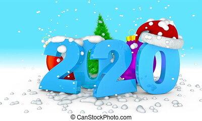 2020, balle, arbre, noël
