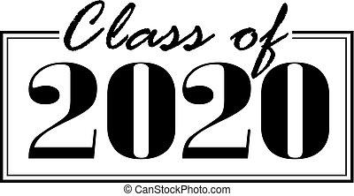 2020, bannière, classe, enfermé dans boîte