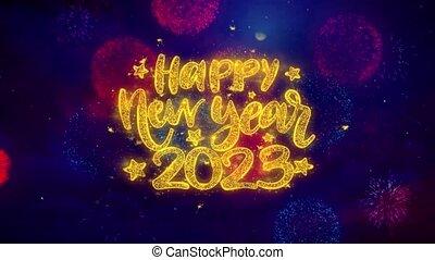 2023, explosion, texte, particles., heureux, souhait, ftirework, nouveau, coloré, année