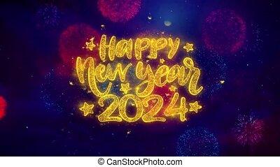 2024, explosion, texte, particles., heureux, souhait, ftirework, nouveau, coloré, année