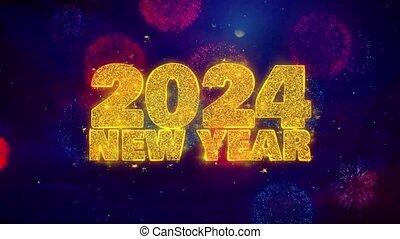 2024, explosion, texte, particles., souhait, ftirework, nouveau, coloré, année