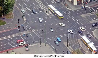 23, tã©lã©viseur, septembre, vif, -, allemagne, tower., 23:, berlin, trafic, 2012., intersection, allemagne, vue