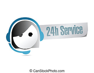 24, client, heure, service, soutien, illustration