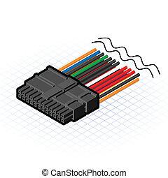24, connecteur, isométrique, épingle