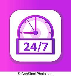 24h, illustration, art, 7, isolé, jours, vecteur, agrafe, icône, horloge, montres, blanc, 24, arrière-plan., design., plat, semaine