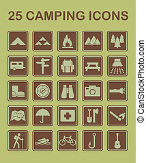 25, camping, icônes
