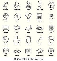 25, concept, business, mélange, ensemble, ligne, icône
