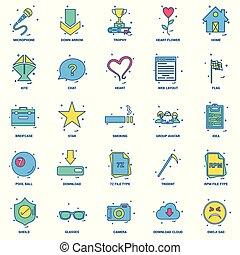 25, concept, business, plat, couleur, mélange, ensemble, icône