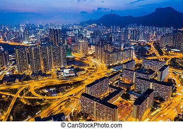 25, hong, ville, sommet, baie, kong, avril, kowloon, nuit, 2019:, vue
