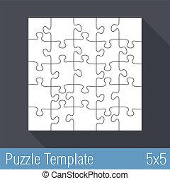 25, puzzle, puzzle, gabarit, morceaux
