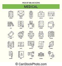 25, style, ensemble, contour, a tiret, monde médical, -, ligne, icône