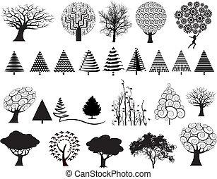 27, vecteur, arbres
