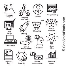 29., gestion, icones affaires, ligne, style., meute