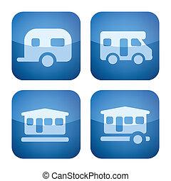2d, carré, cobalt, camping, set: