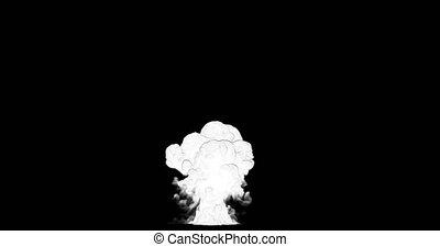 2d, grand, explosion, dessin animé, fumée