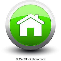2d, maison, bouton, vert