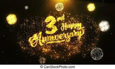 3ème, texte, salutation, anniversaire, voeux, fond, invitation, célébration, heureux