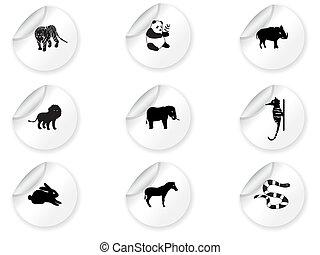 3, autocollants, icônes animales