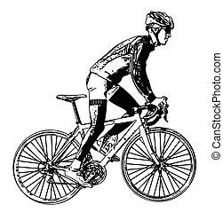 3, course, illustration, cycliste
