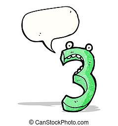 3, dessin animé, nombre