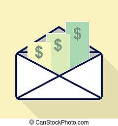 3, enveloppe, chèques, une