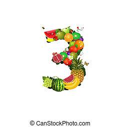 3, fruit, nombre