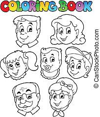 3, livre coloration, collection, famille