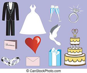 3, mariage, icônes