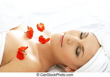 #3, pétales, rouges, spa