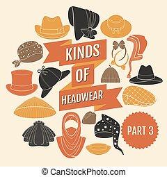 3., partie, genres, headwear.