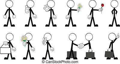 3, vecteur, crosse, pictograms, homme