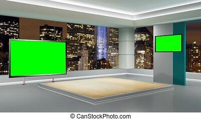 344-, virtuel, nouvelles tv, écran, studio, arrière-plan vert, ensemble, boucle