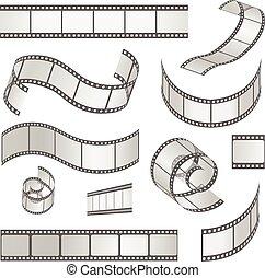 35mm., média, vecteur, négatif, pellicule, cadre, diapo, ensemble, bande, rouleau, filmstrip, illustration
