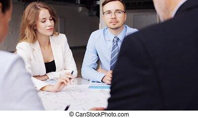 39, bureau, equipe affaires, plan, réunion