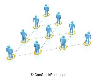 3d, équipe, rendu, illustration., hierarchy.
