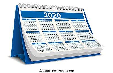 3d, 2020, bleu, calendrier