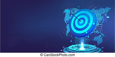 3d, bannière, victoire, map., business, hologramme, concept., precision., but, reussite, taureau, accomplissement, eye., mondiale, but, dards, vecteur, accomplissement, flèche, cible, gabarit, illustration