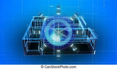 3d, bleu, modèle, fond, sur, maison, animation, portée, rotation, balayage