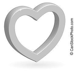 3d, coeur, vecteur, lustré, argent