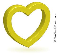 3d, coeur, vecteur, lustré, doré