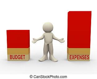 3d, comparaison, dépenses, budget, homme
