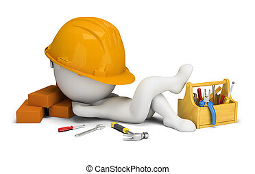 3d, constructeur, -, sommeils, gens, petit, lieu travail