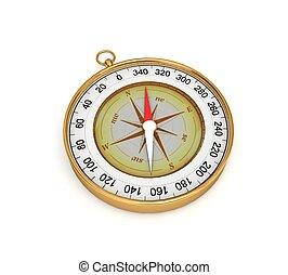 3d, doré, compas