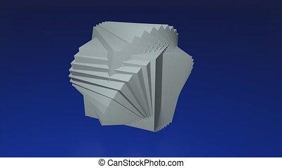 3d, fait, cubes, résumé, trois, blanc, intéressant, dimensionnel, géométrique, corps, bleu sombre, logotype, fond, tourner