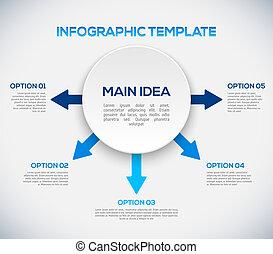 3d, flèches, circle., gabarit, infographics