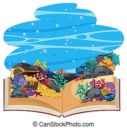 3d, haut, livre, sous-marin, pop