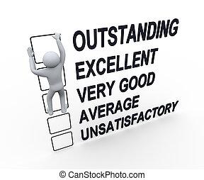 3d, homme, performance, formulaire, évaluation
