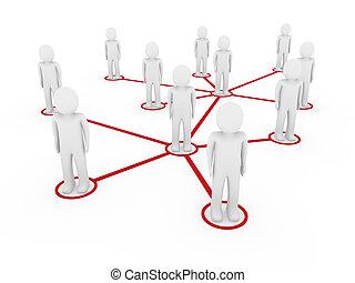 3d, hommes, réseau, rouges, social