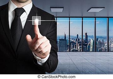 3d, horizon, grand, bureau, conceptuel, touchscreen, homme affaires, moderne, pousser, vue, bouton, virtuel, illustration, doigt