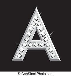 3d, lettre, diamants